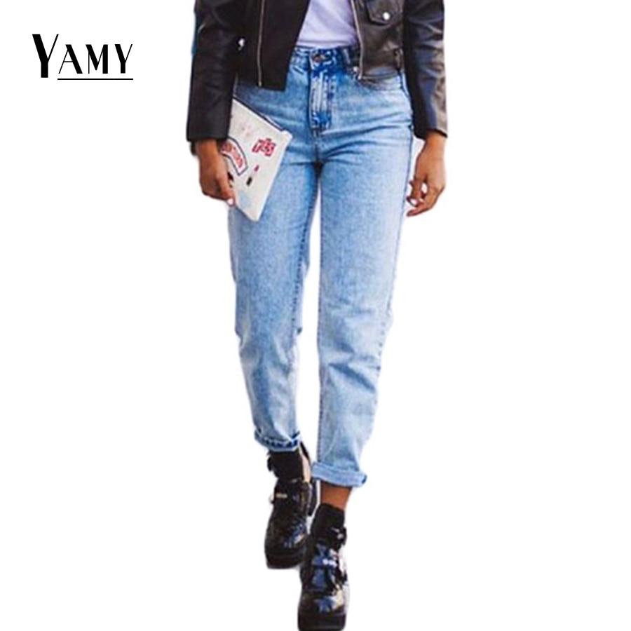 Spring 2017 Boyfriend Women   Jeans   High Waist White Snowflake Print Loose Light Women Long Wide Leg   Jeans   Mom Bottom