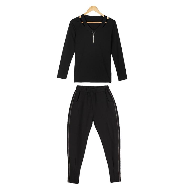 Lápiz Señoras Mujer 2017 Pantalones Piezas cuello V Sexy Moda Europen Zip Elástico Camiseta Negro Blusa Sólido Casual 2 Sprint Sets zfx5nnW