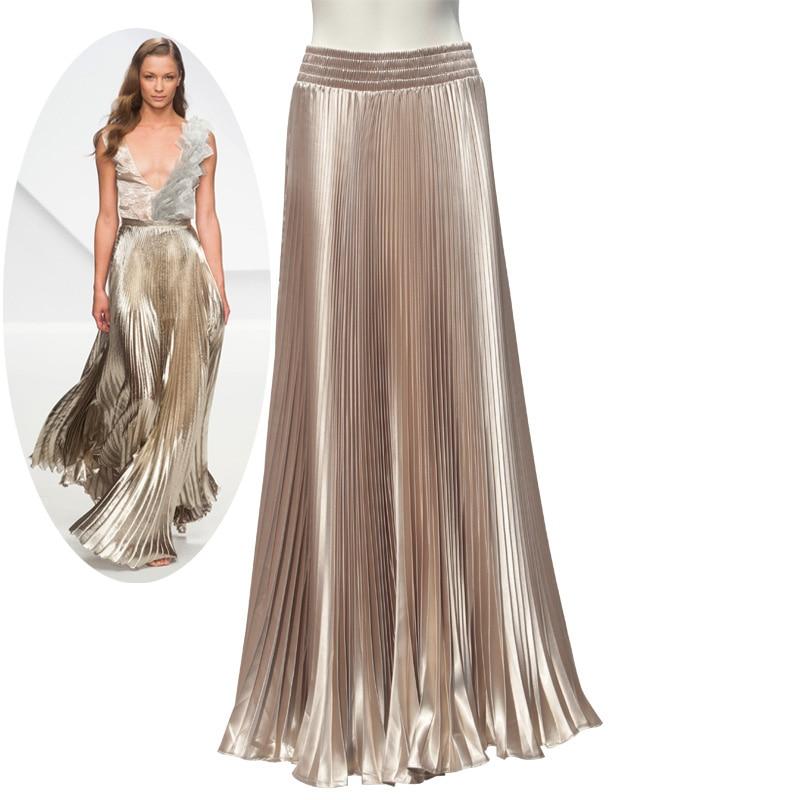 ربيع الخريف أزياء أنيقة معدنية مرونة الخصر التنانير مطوي طويل 2017 مشرق الحرير السيدات ماكسي لونغ تول التنانير النسائية
