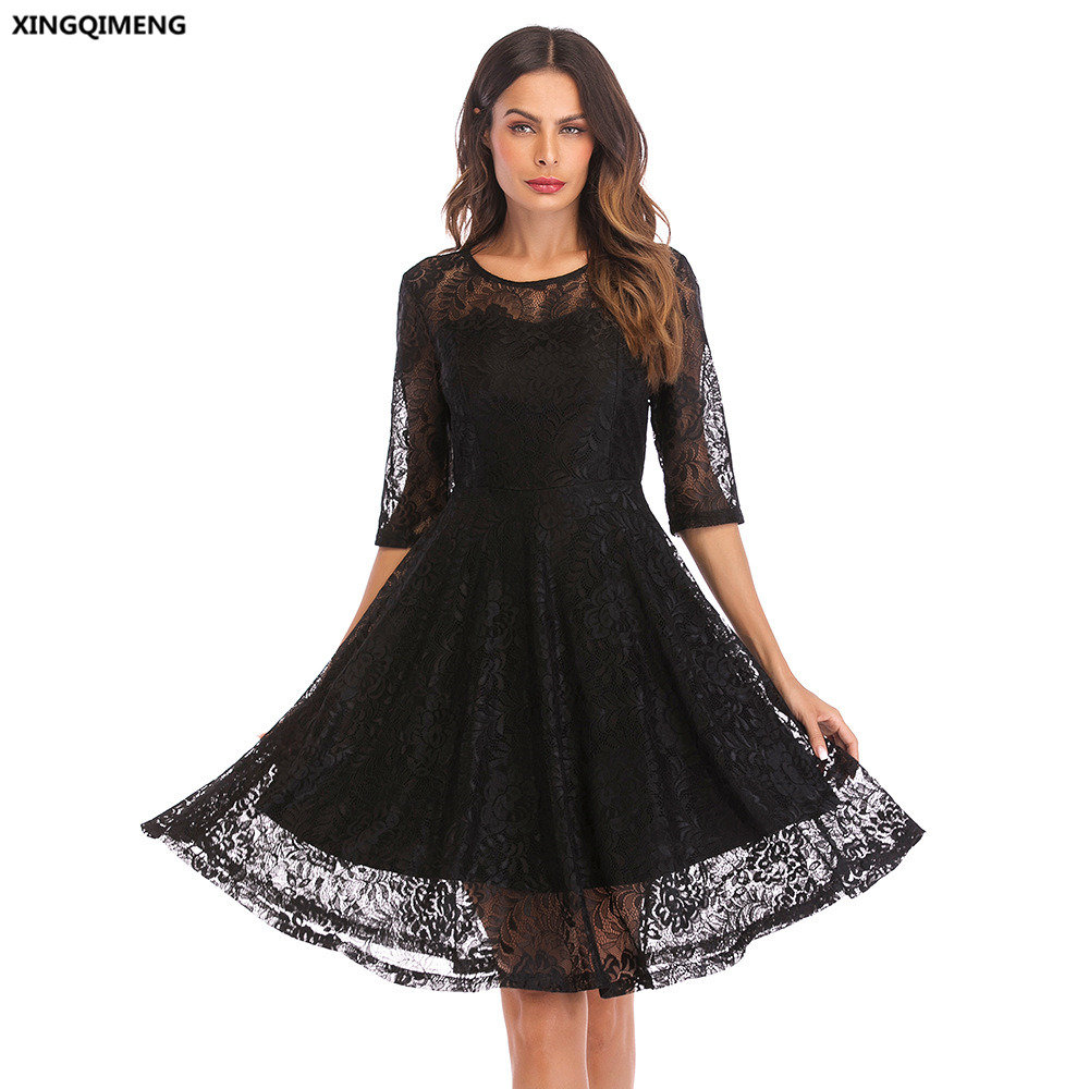 In Stock Full Lace Little Black Dress with Half Sleeve ...