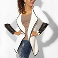 New 2017 Spring Womens Jacket Fashion PU Leather Sleeve Knitted Cardigan Long Sleeve Poncho Outwear Coat Plus Size Blusas