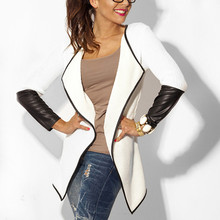 Women Long Sleeve Leather Jacket 2019 Autumn Winter Female Knitted Cardigan Long Sleeve Poncho Outwear Coat