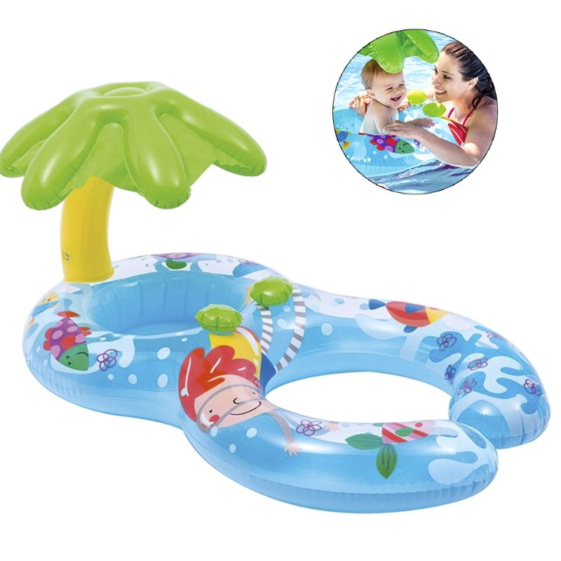 Baby Pool Swimming Ring Inflatable Double Kid Parent-child Safety Seat Float