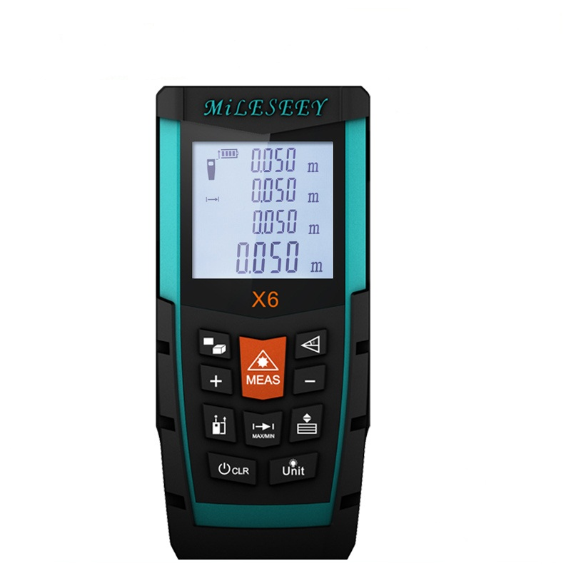 Mileseey X6 50M 70M 100M Laser Distance Meter Non-slip Soft Glue Groove Design Used in Mapping Industry Laser Distance Meter