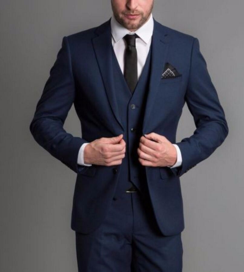25.1 Custom Made Handmade Navy Blue 3 Piece Men Slim Fits Suits Tuxedo Wedding Suits Groom Suits Formal Business Suits