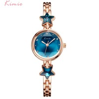 KIMIO Brand Women Star Bracelet Watches Fashion Lady Rose Gold Plated Blue Multi faceted Quartz Watch Hexagram Dress Wristwatch