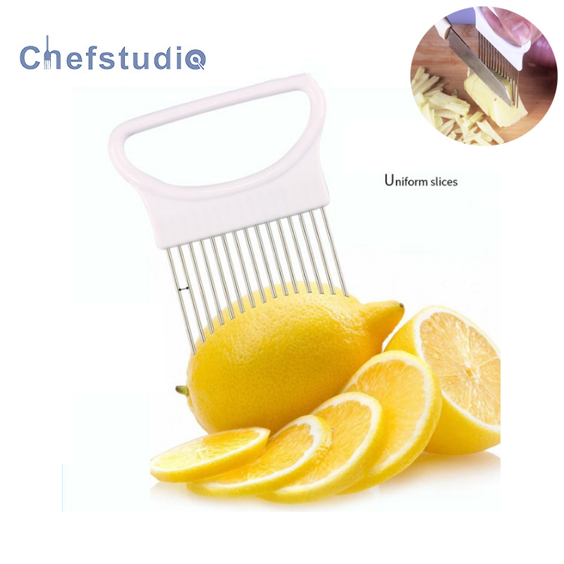 Cut Onion gadgets vegetable cutter lemon squeeze cutte accessoires Holder Fork Stainless Steel Fruit Potato Slicer ustensiles