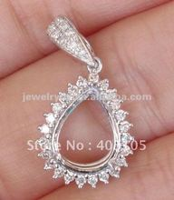 Jewellers! Pear 8x10mm 14kt White Gold Natural Diamond Semi Mount Pendant Settings