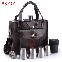 ФОТО flasque alcool personal stainless steel 88oz hip flasks classic cccp design pattern leather bag whiskey flask convenient flagon