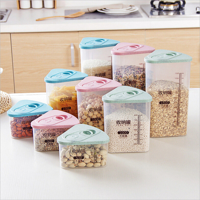 Kitchen Food Cereal Grain Bean Rice Storage Box Jar Container Box Plastic Cases Hot