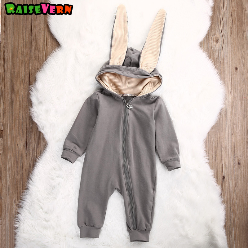 Big Ear Rabbit Hooded Zipper Baby Girl Boy Gray Overalls Newborn Infant Jumpsuit Autumn New 1-4T Kids Long Sleeve Rompers