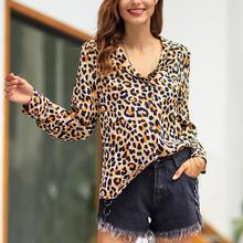 Wholesale Casual Women's Leopard Print Blouse Turn Down Collar Long Sleeve Loose Shirt turn down collar 3d paisley print long sleeve shirt