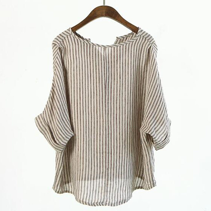 1b1d80414d7045 Johnature Women Striped Shirts 2019 Summer New Batwing Sleeve Casual  Blouses Linen Japanese Blouse Loose Vintage Simple Top-in Blouses & Shirts  from Women's ...