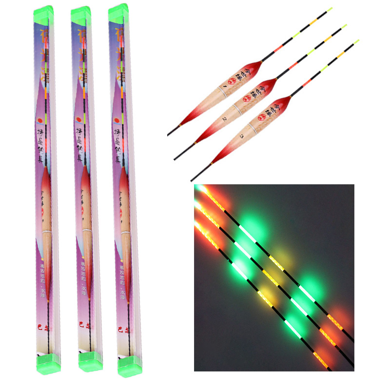 New Arrival  Led Electronic Fishing Float Night Floats Balsa Wood Night Vision Electric Float Fishing Tackle Luminous Float