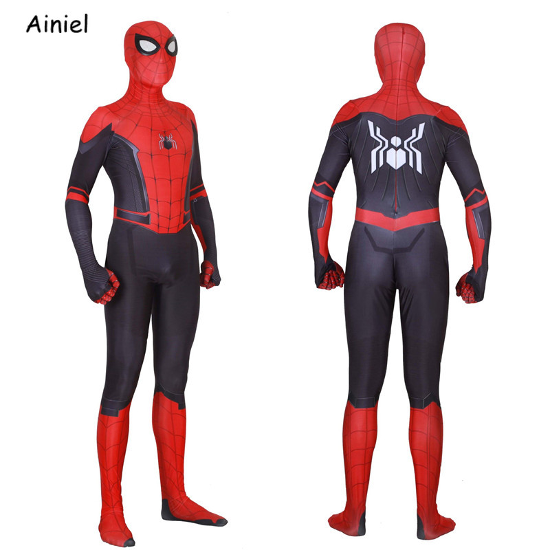 Adult Spider Man Far From Home Peter Parker Cosplay Costume Mask Zentai Spiderman Superhero Jumpsuits Halloween Costume Men Kids(China)