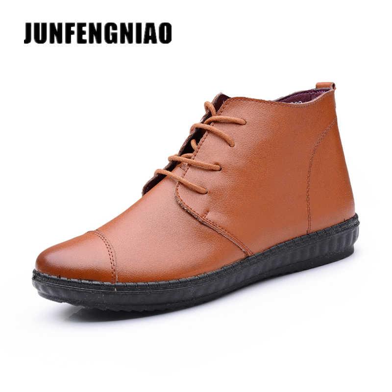 JUNFENGNIAO Oxford Flats kadın Bot Ayakkabı Kadın Kadın Lace Up Hakiki Deri Kauçuk Taban Süperstar Rahat Marka DNF-953