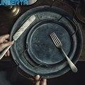 JINSERTA металлический поднос для сервировки Ретро тарелка с ручкой ручной работы круглый кованый винтажный поднос для Хранения Хлеба домашни...
