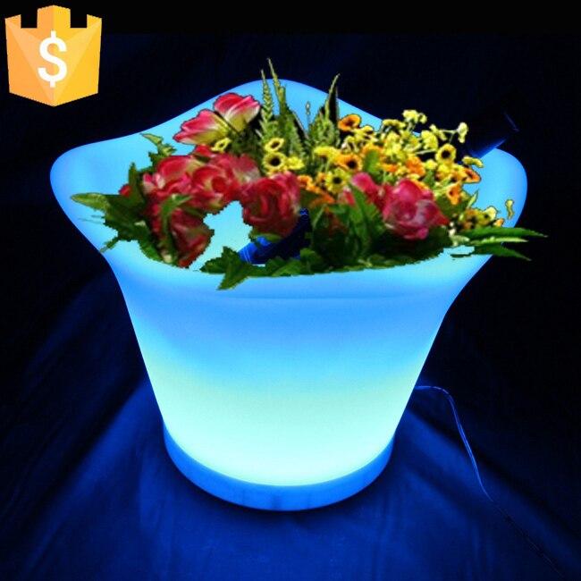 L32 W32 H28cm 4 5l Home Decoration Garden Glow Led Flower Planter 16 Colors Illuminated Pot Lamp Free Shipping 1pc In Pots Planters