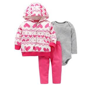 Image 1 - Abrigo de manga larga con capucha de corazón de amor + Mono gris + Pantalones rosa 2019 traje de niña recién nacida conjunto de ropa de niño ropa infantil traje