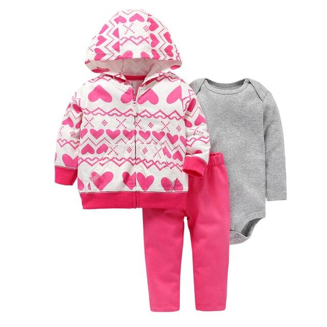 Abrigo de manga larga con capucha de corazón de amor + Mono gris + Pantalones rosa 2019 traje de niña recién nacida conjunto de ropa de niño ropa infantil traje