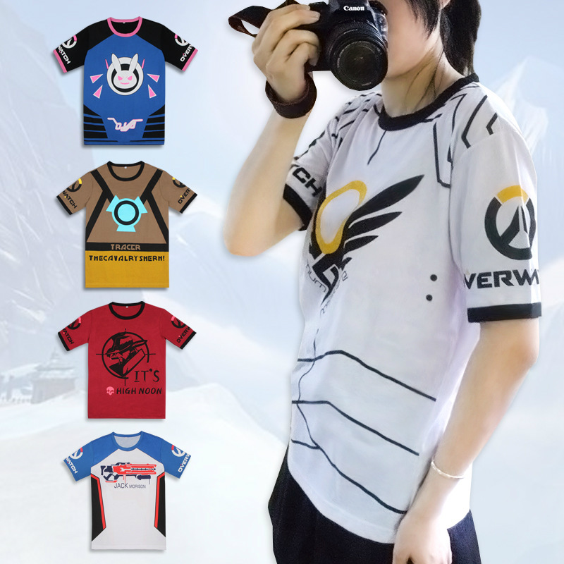 Dva Unisex Short Sleeve Shirt Game Anime Cosplay Costume Summer Soldier 76 Top T-Shirt Angela Ziegler Clothing T-Shirt