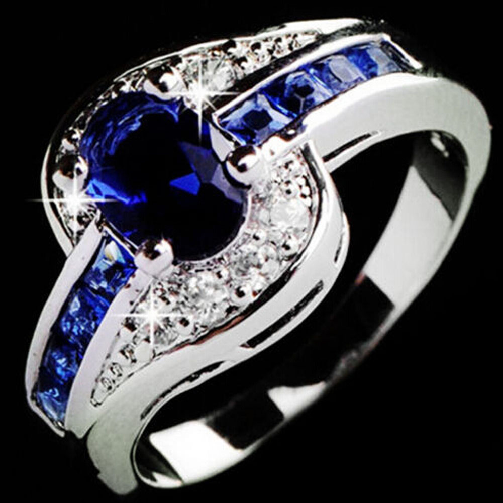 2018FASHION! blue ring jewellery crystal Oval blue
