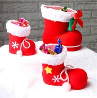 HYSUNG Merry Christmas Accessories Red Flocking Stockings PVC Xmas Decorations Gift Wrap Candy Box Boots Tree