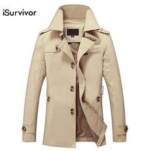 Модная новинка iSurvivor мужская длинная куртка весна осень Корейская мужская Тонкая хлопковая Повседневная ветровка мужская длинная куртка популярная 5XL