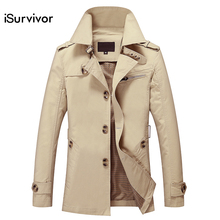 Fashion New iSurvivor Men Long Jacket Spring Autumn Korean Men Slim Cotton Casual Windbreaker Men's Long Coat Jacket Popular 5XL
