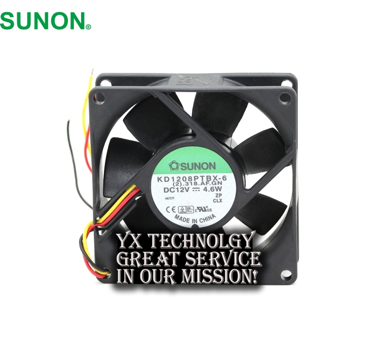 SUNON New and Original 8CM KD1208PTBX-6 12V 4.6W three wire speed ball bearing cooling fan  80 * 80 * 25mm free shipping original sunon 4020 12v 0 7w gm1204pkv2 a ultra quiet 2 wire cooling fan