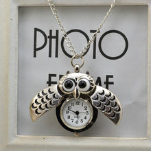 Funny Big Eyes Owl Pocket Watch Animal Pocket Watch Pendant NecklaceChildren Friends Family Gift cep saati relógio de bolso(China)