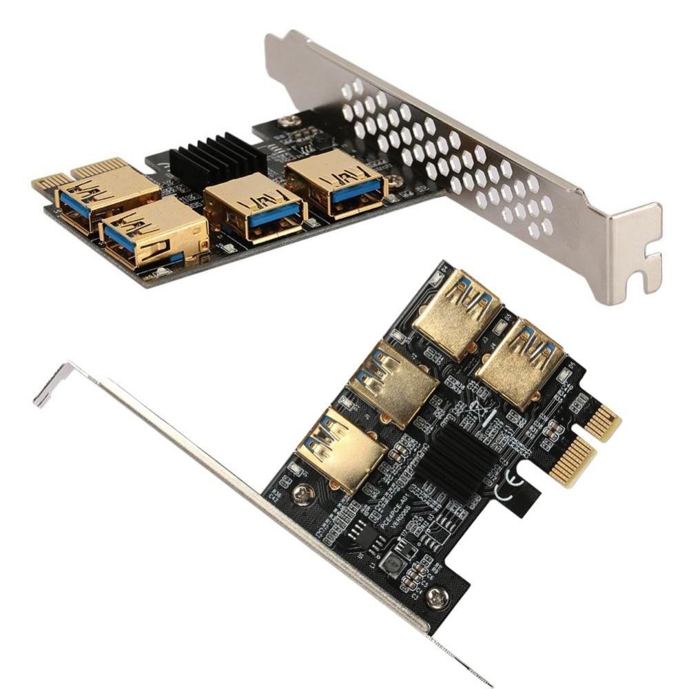 amzdeal PCI-E 1X to USB3.0 4 PCI-E 16X Mining Card Expansion Card Expansion Board Black for BTC Mining