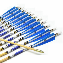 12pcs 31″ Wooden Arrows with blue Turkey feathers for Shooting Recurve bow