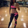 2016 Summer Tracksuit 2 Piece Set Women Suits Suit Sexy Fitness Spaghetti Strap Crop Tops Work Out Leggings