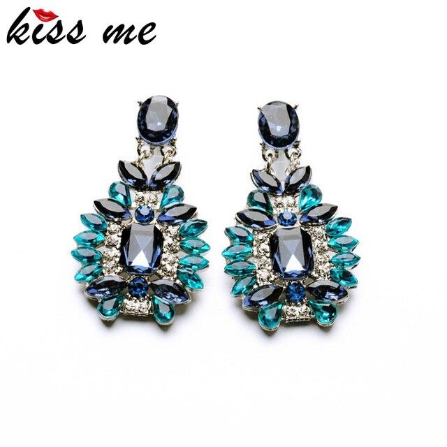 KISS ME Statement Trendy Jewelry Elegant Shiny Resin Stone Blue Plant Stud Earrings Factory Wholesale