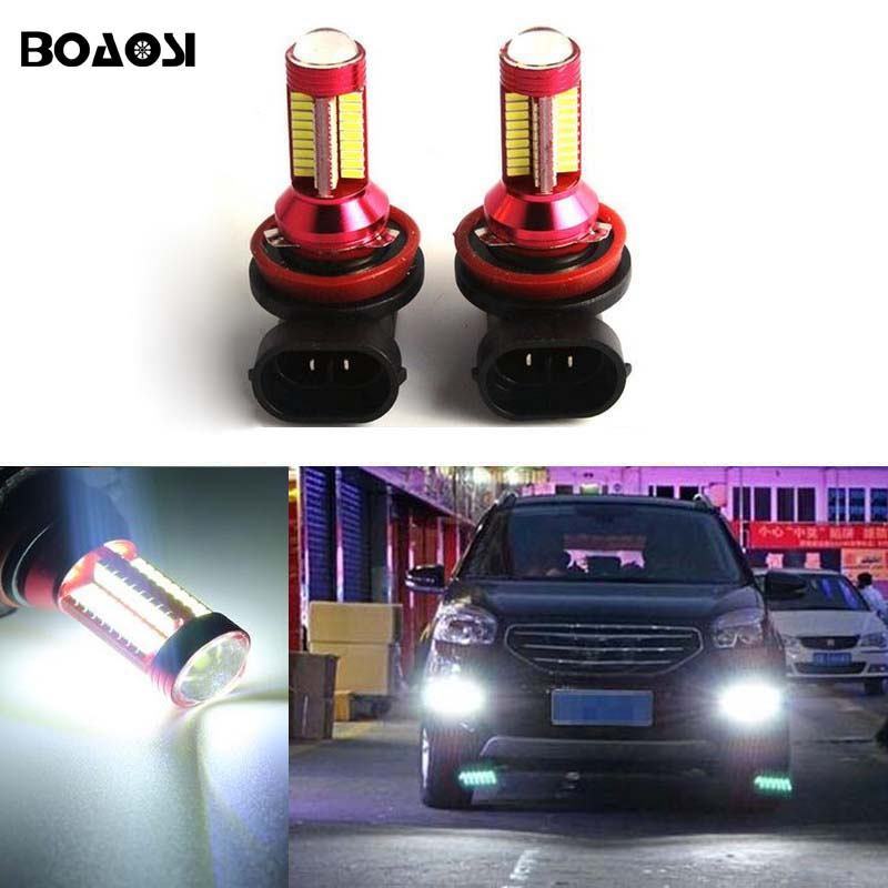 BOAOSI 2x Super Bright H11 LED Fog Light Driving DRL Car Light for Renault Megane Fluence Koleos Latitude car-styling boaosi 2x h11 led canbus 5630 smd bulbs reflector mirror design for fog lights for renault megane fluence koleos latitude