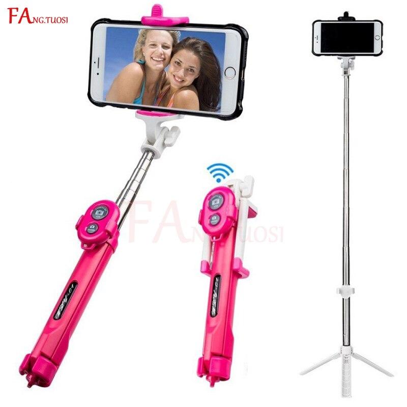 FANGTUOSI bluetooth selfie stick mini treppiede Allungabile Monopiede con telecomando Pau Palo bastone selfie per i telefoni cellulari