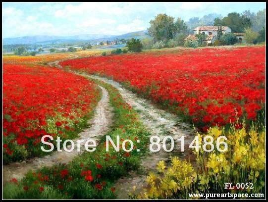 Paesaggio toscano coltello Rosso floreale dipinti di arte della ...