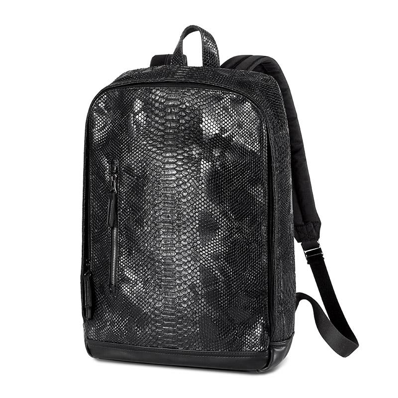 ФОТО UIYI Men Women Travel Backpack Shoulder Bag PVC PU Leather Snakeskin Male Laptop School Bags Preppy College Schoolbag 160215