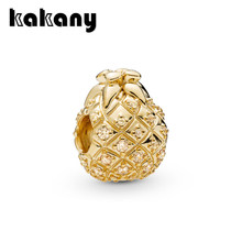 KAKANY 2019 spring new SHINE GOLDEN PINEAPPLE CHARM Unique personality charm beaded Original high quality fashion jewelry(China)