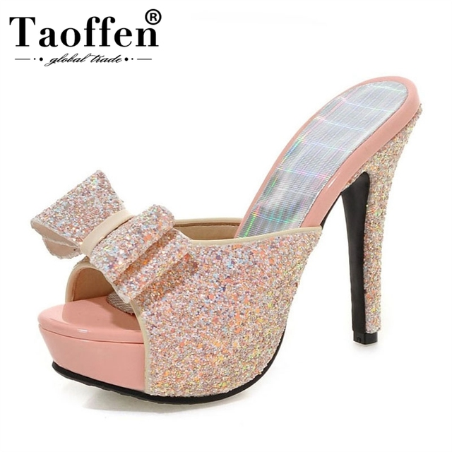 TAOFFEN Women High Heel Sandals Brand Fashion Lady Dress Leopard Sexy Platform Party Shoes Slippers Female Flip Flops PB00043