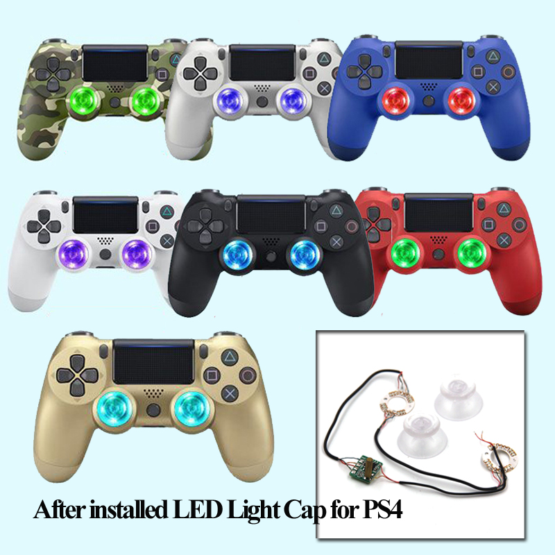 US $26 0 |DIY Wireless Controller for PS4 Colorful LED Light Up Thumb  Sticks Mod For Playstation 4 Wireless joystick Gamepad LED Light Cap-in