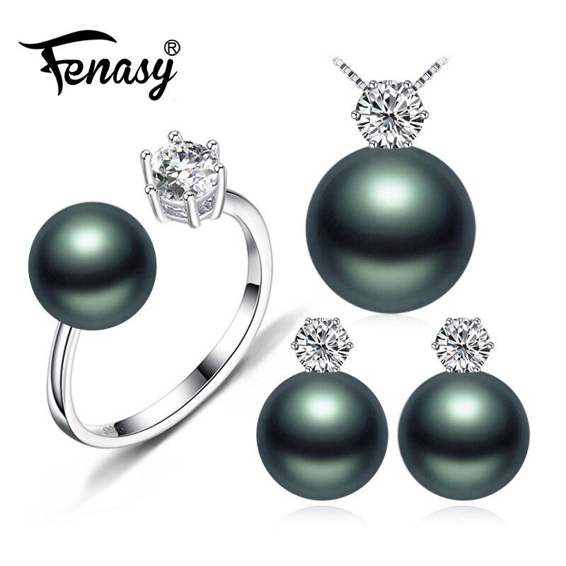 FENASY Perle Marque de Bijoux de mariage de fiançailles ensembles de bijoux Naturel Perle Collier pendentif femmes/boucles D'oreilles, couronne anneau femle