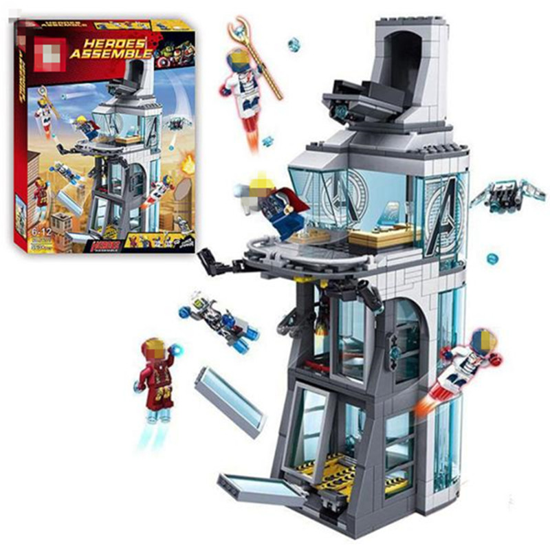 511Pcs Star Wars Marvel Super Hero Iron Man Attack On Avenger Tower Model Building Blocks Copmatible legoingly Starwars