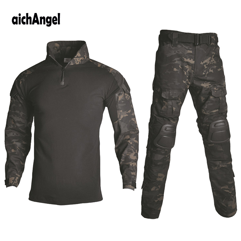 BDU Tactical Camouflage Military Uniform Clothes Suit Men US Army clothes Airsoft Military Combat Shirt + Cargo Pants Knee Pads()