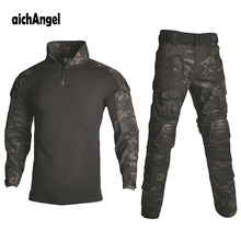 BDU Tactical Camouflage Military Uniform Men Suit  US Army clothes Airsoft Military Combat Shirt + Cargo Pants Knee Pads