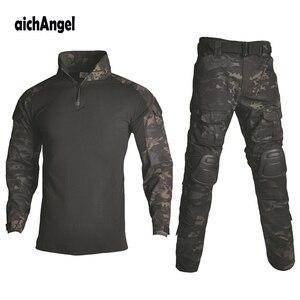 Image 1 - BDUยุทธวิธียุทธวิธีทหารผู้ชายUS Armyเสื้อผ้าAirsoftทหารเสื้อ + กางเกงเข่าPads