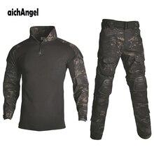 BDU taktyczny kamuflażowy mundur wojskowy mężczyźni garnitur usa odzież wojskowa Airsoft wojskowa koszula bojowa + spodnie Cargo ochraniacze na kolana