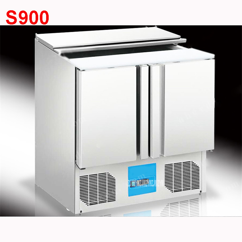 Shipping By Sea 2door4 Salad Tank Refrigerator Display Cool Keeping Stainless Steel Kitchen Fruit Storage Cabinet