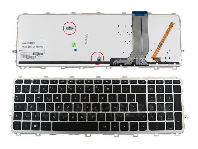 Nuevo sp/español teclado del ordenador portátil de reemplazo para hp envy 15-j serie marco de plata negro (blacklit, para Win8) Cuaderno de teclado